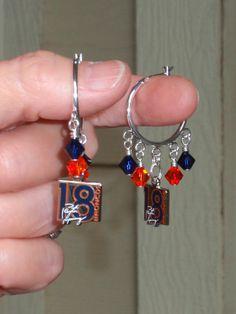Denver Broncos Peyton Manning Number 18 Orange and Navy Crystal Hoop Earrings