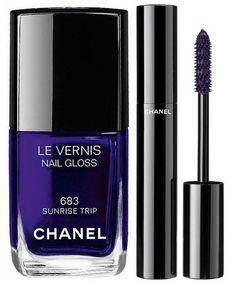 Chanel L.A. Sunrise Spring 2016 Collection   Chanel Le Vernis Nail Gloss 683 Sunrise Trip – dark purple,  Chanel Le Volume de Chanel - Ardent Purple – Purple (Limited Edition)