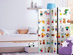 """Paraván - Cartoon Pets [Room Dividers] 3 részes 135x172 cm   A mobil """"Cartoon Pets [Room Dividers] 3 részes 135x172 cm """" térelválasztó egyedülálló megjelenést kölcsönöz a modern beltéri helyiségeknek.  A fából készült, mindkét oldalán nyomtatott 3 - részes, 135x172 cm –es díszparaván nemcsak diszkréten elválasztja a belső tereket egymástól, de káprázatos megjelenéssel ruházza fel őket.   Ingyenes szállítás Animal Room, 2 Kind, Decoration Originale, Toddler Bed, Divider, Curtains, Cartoon, Furniture, Home Decor"""