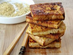 Thai Coconut Rubbed Tofu - Pan-fried tofu slabs drizzled with soy sauce and rubbed with a Thai spice blend