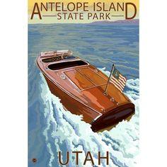 Antelope Island (Blue) State Park, Utah - Wooden Boat - Lantern Press Artwork (Acrylic Serving Tray)