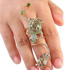 Fashion Turtle Cocktail Knuckle Ring Size 8 Skull Green Autrian Crystal E621 #abc #Casual
