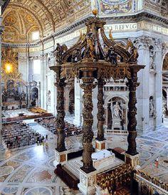 Le Bernin, Baldaquin, 1624-1633, basilique Saint Pierre de Rome, Vatican