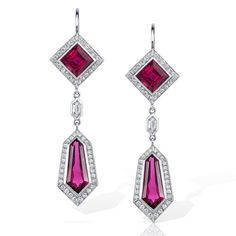 Square and Hexagon Rubellite Tourmaline and Diamonds in Platinum make these drop earrings a perfect lightweight, glamorous accessory. Handmade in USA