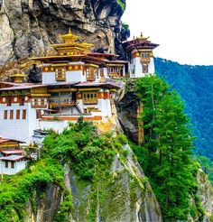 Taktshang Goemba (Tiger's Nest Monastery), Bhutan. A prominent Himalayan Buddhist sacred site and temple complex, located in the cliffside of the upper Paro valley, in Bhutan. A temple complex was first built in 1692, around the Taktsang Senge Samdup cave where Guru Padmasambhava is said to have meditated for three years, three months, three weeks, three days and three hours in the 8th century.