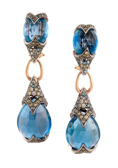 ZORAB- Blue Enchantment Pendant Earrings