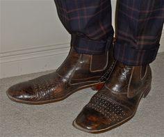 Club Monaco pants, Stacy Adams boots…