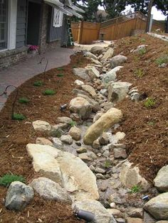 Landscape Features - Rockwork and Streambeds Dry Riverbed Landscaping, Drought Resistant Landscaping, Outdoor Landscaping, Front Yard Landscaping, Landscaping Ideas, Backyard Ideas, House Landscape, Landscape Design, Ideas Para El Patio Frontal