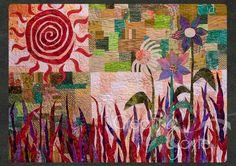 Green Garden Red Sun Abstract Art Quilt CreatingGayleLLC 2014 all rights reserved www.creatinggayle.com