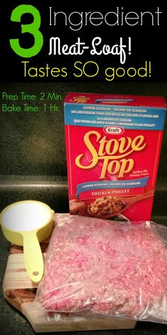 3 Ingredient MeatLoaf Minute Prep, 1 Hour Bake 3 Ingredient Meat-Loaf — Prep Time: 2 Min, Bake Time: 1 Hour Ok — the secret is out! You can make the most delicious meat-loaf with only 3 ingredients — Yes, literally THREE INGRE… Best Meatloaf, Meatloaf Recipes, Stove Top Meatloaf, Meatloaf With Stuffing Mix Recipe, Cooking Meatloaf, Meatball Recipes, Stuffed Hamburger Recipes, Gourmet, Recipes