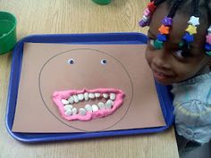 This great activity was a huge hit...we discussed how gums hold in your teeth and then used play dough, googly eyes, a piece of skin colored construction paper, and dried lima beans.  We made a classroom book about it by taking everyones pictures with their face.  We are going to included them in the end of the year memory book too!  So fast and easy!