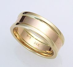 Contemporary 14k Two-Tone 7mm Ring Size 8-11 – Harvest Gold Gallery