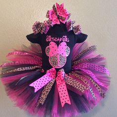 Pinks and Leopard Print Minnie Mouse Polka Dot Birthday Girls Tutu Outfit