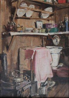 Fisherman's Hut, c.1930 by Stanley Cursiter (Scottish 1887-1976) oil on canvas board