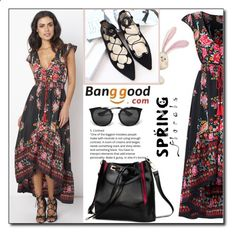 Floral Dress by Banggood 11/20 by esma178 ❤ liked on Polyvore featuring Prada