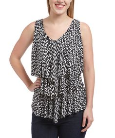 Look what I found on #zulily! Black & White Geometric Tiered Tank #zulilyfinds