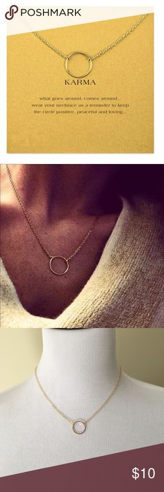 """Karma Necklace Super cute and dainty Circle necklace. Circle is fixed for clean and sharp look, gold colored. 18"""" + 2"""" extension - Circle 5/8"""" Jewelry Necklaces"""
