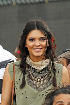 Two pigtail braids looked boho not babyish on Kendall Jenner at Coachella.