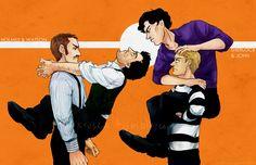 """How to train your Sherlock Holmes"" by Drs. Watson & Watson Do not let Sherlocks make eye contact with each other. Do not let your Sherlock climb all over you, be assertive.) Be John Watson. Sherlock Holmes Robert Downey, Sherlock Holmes John Watson, Sherlock Holmes Benedict, Sherlock John, Robert Downey Jr, Jim Moriarty, Johnlock, Benedict Cumberbatch, Decimo Doctor"