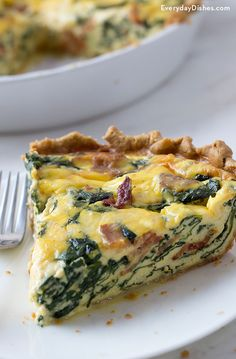 Quiche Recipes Discover Bacon Spinach Quiche Recipe for Breakfast or Brunch This savory bacon spinach quiche recipe is hearty delicious and easy to prepare! Make it with a homemade pie crust for an extra special touch. Breakfast Quiche, Breakfast Recipes, Egg Quiche, Recipes For Brunch, Spinach And Eggs Breakfast, Cheese Quiche, Bacon Breakfast, Sweet Breakfast, Baby Spinach