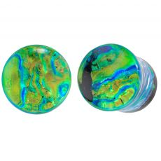 Pair of Green Dichroic Glass Marble Single Flared Plugs 2G - 1/2