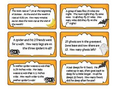 "Celebrate the season with these spooky math problem solving tasks! Perfect for a center or extension activity, these will keep your students busy long after they've said, ""Teacher, I'm done! NOW what can I do?"" Skills covered include addition, subtraction, patterns, make an organized list, and algebraic thinking."