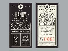 Handy Supply Co. by Steve Wolf Join the Branding / Identity / Design Newsletter ➞ Print Packaging, Packaging Design, Identity Design, Label Design, Print Design, Hangtag Design, Ticket Design, Steve Wolf, Dm Poster