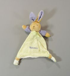 Doudou plat lapin velours violet et jaune Takinou