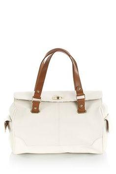 White Tan Bowler Bag