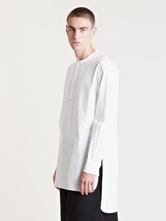 Yohji yamamoto men's cotton tunic shirt from aw13 collection in white.