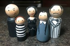 The Addams Family inspired Painted Peg Dolls by LaceysCraftyLetters on Etsy https://www.etsy.com/listing/279725636/the-addams-family-inspired-painted-peg