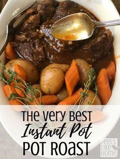 The best healthy Instant Pot pot roast - This simple and easy recipe is quick and great for weeknight meals or Sunday dinner with a one pot gravy. Gluten-free with potatoes and carrots. #recipe #mealplan #healthy #wellness #appetizers #roasted