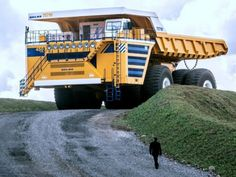 Belaz trucks are giant Belarussian trucks that are used to transport large amounts of iron or other ore.