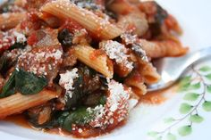 Penne with Sausage, Spinach and Tomatoes - whole wheat pasta, Italian turkey…