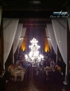 Our gorgeous candlers and sheer drape at The Barns at Wesleyan Hills in Middletown, Connecticut.  #drapery #decor #lighting #unique #simple #beautiful #elegant #chandelier