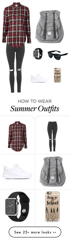 """School outfit 1"" by chumchum10 on Polyvore featuring Topshop, Yves Saint Laurent, NIKE, Herschel, Casetify and tocoolforschool"