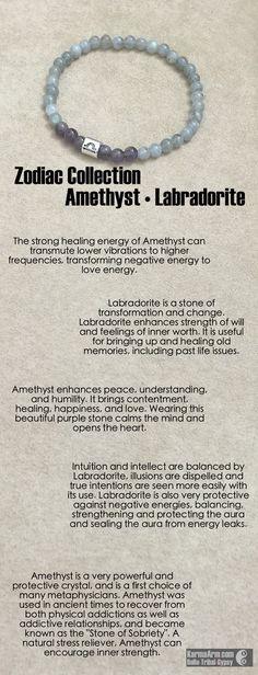 MANTRA: Infinite possibilities await me. - 6mm Natural Amethyst Gemstones - 6mm Natural Labradorite Gemstones - Tibetan Silver Zodiac Talisman Bead - Commercial Strength, Latex-Free Elastic Band - Art