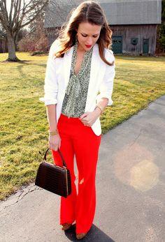 blazer, color schemes, pincher fashion, outfit, loft, trouser, penni pincher, bright colors, red pants