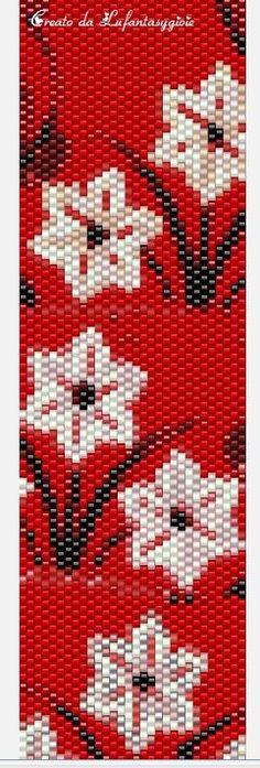 I peyote di Lufantasygioie: Pattern peyote:fiori bianchi