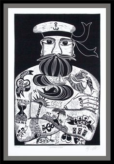 Tattoodles, black and white linocut - Full-frontal image, unframed