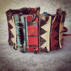 Layers of Leather - Tribal Leather Bracelet - Ethnic Leather Cuff - Chevron Jewelry - Boho Indie Sty Tribal Jewelry, Bohemian Jewelry, Leather Jewelry, Cowgirl Jewelry, Punk Jewelry, Jewellery, Bohemian Gypsy, Metal Jewelry, Jewelry Necklaces