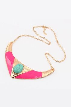 This necklace crafted in alloy, featuring cow horn shaped pendant, rhinestone embellishment, adjustable length with clasp fastening to the end.$11.25