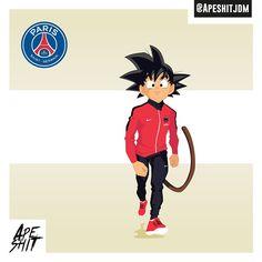 GOKU X PSG X APESHIT (@psg)⚪️ #parisiens #dragonballz #psg #ligue1 #cartoon #illustration #manga #draw #football #soccer #team #france #character #inspiration #concept #art #illustrator #design #dbz #nike #heroes #player #parissaintgermain #goku #sangoku #paris #paname