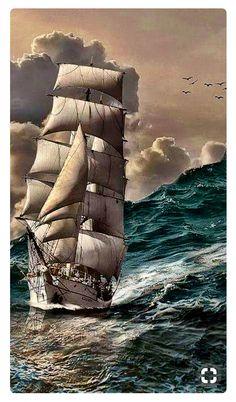 Lindo marine life – Famous Last Words Bateau Pirate, Old Sailing Ships, Sailing Boat, Full Sail, Ship Paintings, Stormy Sea, Wooden Ship, Sail Away, Ship Art