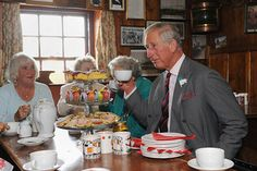 Prince Charles drinking tea in Cardiff
