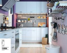 Ikea kitchen circa 2009. I love the lavender  walls.