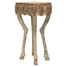 Aslan French Brown Stag Leg Leaf Engraved Stone End Table | Shop Home Decor | Art & Home  ||  The Aslan French Brown Stag Leg Leaf Engraved Stone End Table from Kathy Kuo Home will make a fantastic enhancement to your stylish home. Part of the Art & Home complete End Tables collection. White Accent Table, White End Tables, End Tables For Sale, Grey Table, Side Tables, Accent Tables, Grey Furniture, Table Furniture, Painted Furniture