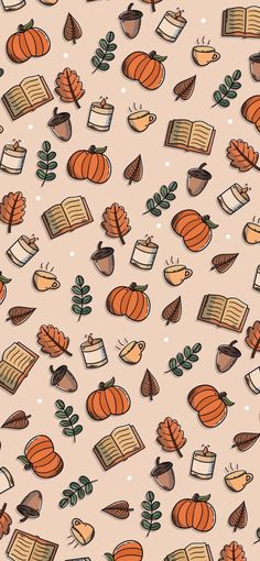 Warm & Cosy Autumn Fall Illustration Phone Background Wallpaper