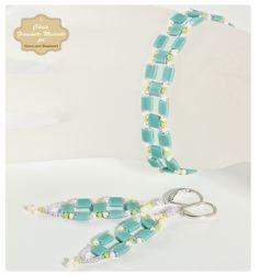 beaded bracelet patterns free   Tila Bead Squares Bracelet and Earrings Pattern