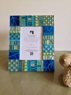 Cottage Chic Decor Teal Blue Peridot Mosaic by HamptonMosaics
